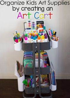 Organize kids art supplies with this DIY Storage Solution. This Ikea Art Cart fosters open-ended creativity and works well in small spaces too! These storage and organization tips make it easy for a toddler, preschool or elementary aged child to get their craft tools easily. The cart makes a fabulous homework station too! | #Homeschool #OrganizationAtHome #OrganizationAtSchool #TeachersDesk #SchoolSupplies #Playroom
