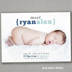 Meet Baby Photo Baby Announcement by greysquare on Etsy, $12.00