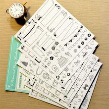 6 hojas/porción DIY Creativo Kawaii Lindo de la Historieta Pegatina Scrapbooking Pegajosa De Papel Para Decoración Del Hogar Diario Envío Gratuito 493(China)