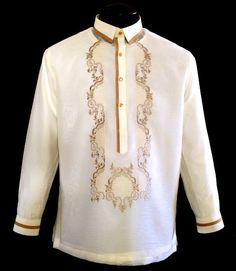 Jusilyn Barong Tagalog - Barongs R us Wedding Dress Men, Wedding Suits, Yacht Wedding, Wedding Attire, Barong Tagalog Wedding, Filipiniana Dress, Filipiniana Wedding, Filipino Fashion, Philippines Fashion