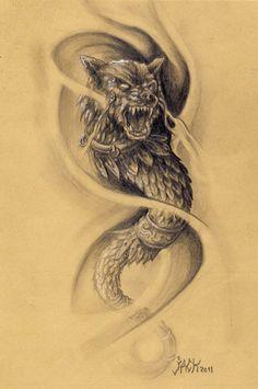 Wolf Tattoos Men, Leg Tattoos, Tattoos For Guys, Tatoos, Wolf Tattoo Design, Tattoo Designs, Shield Tattoo, Phoenix Bird Tattoos, Mythology Tattoos