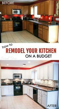 Most kitchen renovations are very expensive, but this trick can make your kitchen look brand new for a fraction of the cost! Here's how to remodel your kitchen on a budget. Most Popular Kitchen Design Ideas on 2018 & How to Remodeling Kitchen On A Budget, Kitchen Redo, Kitchen Cabinets, Kitchen Planning, Ikea Kitchen, Dark Cabinets, Kitchen Backsplash, Ranch Kitchen, Condo Kitchen