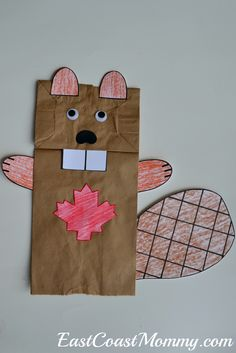 Simple and Fun Ways to Celebrate CANADA DAY - Fantastic Canada Day crafts and activities… including this adorable paper bag puppet beaver. Arts And Crafts For Teens, Art And Craft Videos, Arts And Crafts House, Easy Arts And Crafts, Art For Kids, Daycare Crafts, Toddler Crafts, Canada For Kids, Canada Canada
