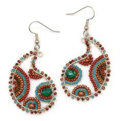 Fair Trade Beaded Paisley Wire Earrings by Dunitz and Co.