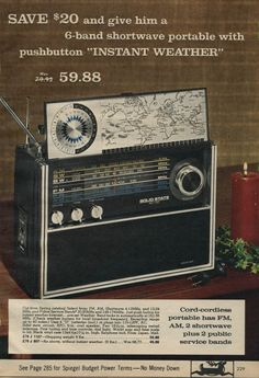 This reminds me of a shortwave radio I picked up at a junk store when I was a small boy. I would sit and listen during late summer nights to stations around the world, as well as to local airplane traffic in the Wichita Metro. :)