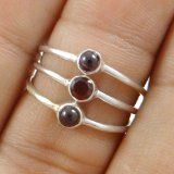 #Gioielli #9: 925 anelli sottili d'argento fissati per donna gioielli granato di modo di pietra SZ-6,25