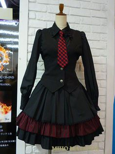 Girls school uniform>> i m not usually into fashion especially not skirts and dresses but damn this looks amazing and i kinda want this to be worn on actual schools preferably mine Edgy Outfits, Pretty Outfits, Pretty Dresses, Dress Outfits, Cool Outfits, Kawaii Fashion, Cute Fashion, Look Fashion, Old Fashion Dresses