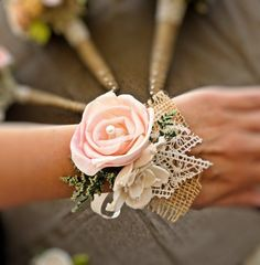 Romantic Wedding Corsage - Mother of the Bride, Natural Wedding, Shabby Chic Rustic Wedding. $18.00, via Etsy. #shabbychicboda