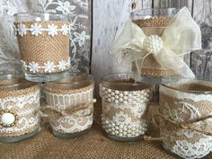 6 rustic natural color burlap and lace covered votive di PinKyJubb Rope Crafts, Burlap Crafts, Diy Home Crafts, Decor Crafts, Burlap Centerpieces, Wedding Centerpieces Mason Jars, Wine Bottle Crafts, Mason Jar Crafts, Wedding Jars
