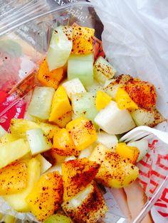 mango. pineapple. jicama. cucumber with lime juice and chili powder