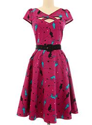 New Arrivals - Pure Purrrrfection Cat Print Flared Retro Dress by Silver Stop, Inc. Clothing