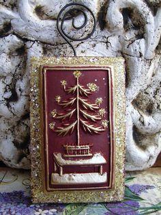 2 Tier Barn Red Candle Lit TREE ON TABLE  Folk by BlackRockFolkArt, $23.00