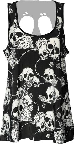 Gothic clothing: Banned skull roses top for women