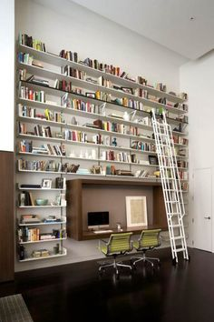 My ceiling is not quite this high, but this is doable. Love the workstation in a box. Love the ladder. I have more books than this, so it would need to wrap around the corner to the right!