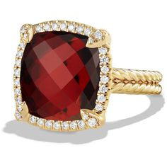 David Yurman 14mm Ch?telaine 18K Garnet Ring with Diamonds (69,120 MXN) ❤ liked on Polyvore featuring jewelry, rings, garnet jewelry, david yurman jewelry, garnet ring, spiral ring and band jewelry