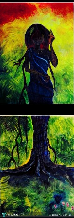 THE FOREST AND THE WOMAN. . - Creative Art in Painting by Bidisha Sarkar in Portfolio MY PAINTINGS at Touchtalent