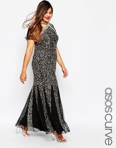 ASOS CURVE RED CARPET Fishtail Maxi Dress in Sequin Mesh