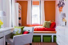 comment aménager une petite chambre à coucher - lit avec rangements et meubles de rangement pratiques
