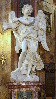 Rom, Via Sant'Andrea della Fratte, Sant'Andrea della Fratte, Engel mit dem Kreuzestitulus von Bernini (angel with the inscription of the cro...