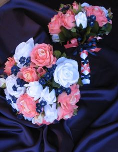 One of the hot new styles is the contemporary orange and blue wedding. And one of the highlights of a wedding is a bouquet of flowers. Interesting indeed speaks bouquet. Navy Wedding Flowers, Wedding Bouquets, Wedding Navy, Coral Navy Weddings, Coral Wedding Colors, Navy Flowers, Bridal Flowers, Wedding Bridesmaids, Wedding Dresses
