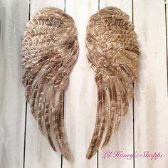 Large Metal Angel Wings Wall Decor, Nursery, Distressed Gold, Ivory U0026  Bronze Metallic, Shabby Chic Decor
