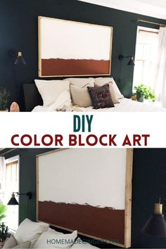 Creating a custom DIY color block art piece is easy and inexpensive to do. You can make a giant piece of artwork for your home and customize the colors to fit your personal decor. This is a project that someone with any DIY skill level can easily do.