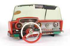 Vintage toy car dashboard; loved this! Mine had working wiperblades, signal, horn. Lots of fun!