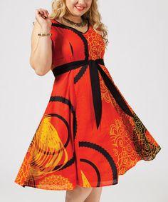Orange & Yellow Tie-Waist Fit & Flare Dress - Plus #zulily #zulilyfinds