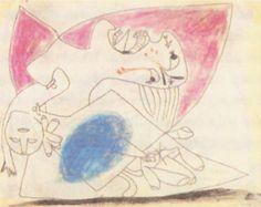 Picasso. Madre con niño muerto, 28 de Mayo de 1937 Lápiz, tiza de color y aguada sobre papel, 23,2 x 29,3 cm. Estudio para el Guernica. (Todos los bocetos están expuestos junto al Guernica en el Museo Reina Sofía de Madrid.)