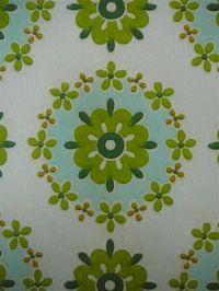 blauw groene bloemen in cirkels behang