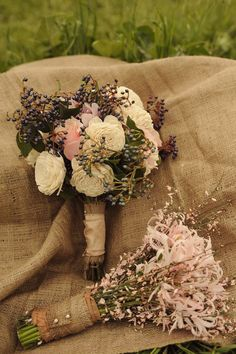 Bouquet - flowers wrapped in burlap, berries