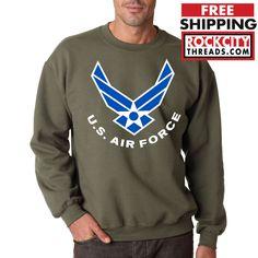 AIR FORCE LOGO CREW NECK MILITARY GREEN Sweatshirt USAF Hooded Pullover United #RockCityThreads #SweatshirtCrew