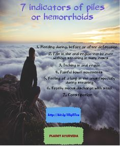 7 indicators of piles or hemorrhoids:  Piles is actually a bunch of veins which are a normally surrounding the external opening i.e. anus