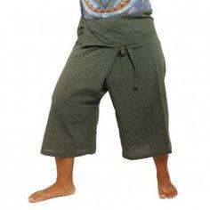 3/5 Thai Style Fisherman Hose - grün - Baumwolle