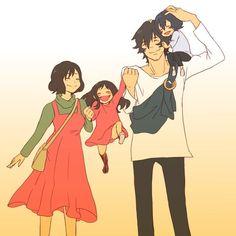 Hana and Ookami and their children, Yuki and Ame as a happy family from Wolf Children Anime Fr, Film Anime, Otaku Anime, Anime Love, Kawaii Anime, Film Wolf, Miyazaki, Wolf Children Ame, Film Animation Japonais