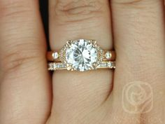 Antoinette 8.5mm & Gabriella 14kt Rose Gold Round FB Moissanite and Diamonds Vintage Wedding Set (Other metals and stone options available)