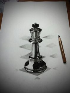 king chess piece in charcoal pencil