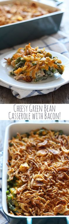 Cheesy Green Bean Casserole with Bacon - Handle the Heat