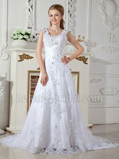 Beautiful dress, but I would choose no color on the flowers.  A-Line Scoop Natural Waist Non-Strapless Tank Satin Tulle Wedding Dress - US$ 339.99 - Style WD5801 - Helene Bridal