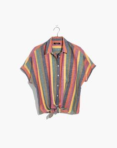 A slouchy shirt that ties at the waist/slightly oversized fit Cotton/Tencel Rainbow stripes Smoke free home Brand new with tag Retails for Camisa Tribal, Slouchy Tops, Cool Outfits, Fashion Outfits, Fashion Purses, Fashion Usa, Fashion Shirts, Fashion Jewelry, Fashion Clothes