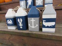 Nautical Nursery Decor, Nautical Art, Coastal Decor, Nautical Favors, Deco Marine, Wood Block Crafts, Mediterranean Decor, Beach Crafts, Beach House Decor