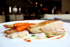 Amberjack with manti shrimps, lemon cream, glazed carrots and pickled ginger emulsion2