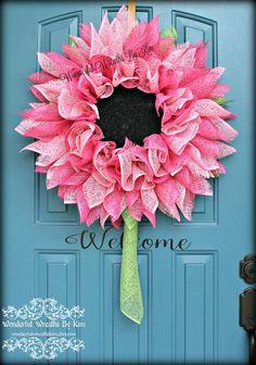 Flower Wreath deco mesh flower poly burlap by WonderfulWreathsKim