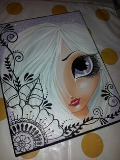 Etsy listing at https://www.etsy.com/listing/260702829/purple-big-eye-girl-original-canvas