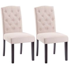Set of 2 Linen Fabric Wood Accent Dining Chair Tufted Modern Living Room Beige, Solid Wood Frame and Sturdy Feet for Strength and Stability, Chic Design Allows it to Fit in Any Room, Linen Fabric Parsons Dining Chairs, Tufted Dining Chairs, Fabric Dining Chairs, Solid Wood Dining Chairs, Dining Chair Set, Dining Rooms, Wood Accents, Living Room Modern, Modern Chairs