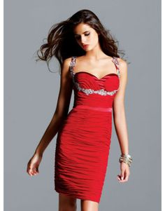 Red column sweetheart prom dress with silver sequined straps  US$128.00