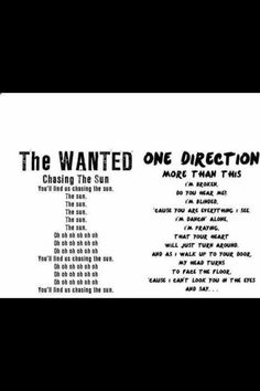 The Wanted Lyrics vs. One Direction Lyrics. and the winner of the most creative award goes too..... ONE DIRECTION!!!!