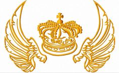 Crown with wings Machine Embroidery Design