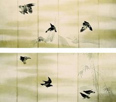 Crows, 1766, Japan, Edo period, Pair of six-fold screens; ink and gold on paper by Maruyama Okyo.
