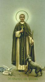 St. Martin de Porres was born at Lima, Peru, in 1579. His father was a Spanish gentleman and his mother a coloured freed-woman from Panama. At fifteen, he became a lay brother at the Dominican Friary at Lima and spent his whole life there-as a barber, farm laborer, almoner, and infirmarian among other things.
